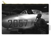 Pilot And His Airplane In The Hangar Carry-all Pouch