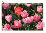 Pink And Red Ruffly Tulips Square Carry-all Pouch