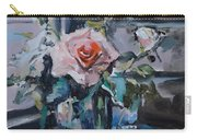 Pink And White Roses In Silver Mug Carry-all Pouch