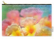 Pink And Yellow Lantana With Verse Carry-all Pouch by Debbie Portwood