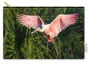 Pink Bird Flying - Spoonbill Coming In For A Landing Carry-all Pouch