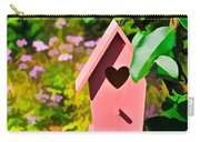 Pink Heart Birdhouse Carry-all Pouch