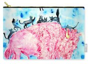 Pink Bison And Black Cats Carry-all Pouch