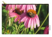 Pink Flower And Bee Carry-all Pouch