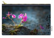 Pink Flower With Inkbrush Calligraphy Joyfulness Carry-all Pouch