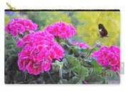 Pink Geraniums And Butterfly Carry-all Pouch