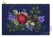 Pink Metallic Rose On Blue Carry-all Pouch