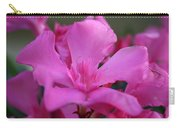 Pink Oleander Flower With Green Leaves In The Background   Carry-all Pouch
