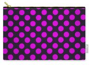 Pink Polka Dots On Black Fabric Background Carry-all Pouch