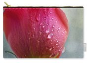 Pink Rose Bud With Drops Carry-all Pouch