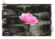 Pink Rose In Black And White Carry-all Pouch
