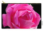 Pink Rose On Black Carry-all Pouch