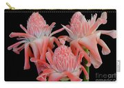 Pink Torch Ginger Trio On Black Carry-all Pouch