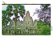 Pink Tower In The Bayon In Angkor Thom In Angkor Wat Archeological Park Near Siem Reap-cambodia Carry-all Pouch