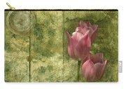 Pink Tulips And Old Clock Carry-all Pouch
