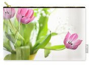 Pink Tulips In Yellow Vase Carry-all Pouch
