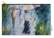 Pink Umbrella - Palette Knife Oil Painting On Canvas By Leonid Afremov Carry-all Pouch