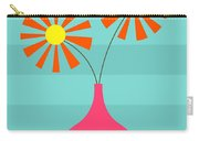 Pink Vase On Blue Carry-all Pouch