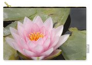 Pink Water Lily And Leaves Carry-all Pouch