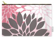 Pink White Grey Peony Flowers Carry-all Pouch