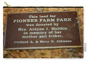 Pioneer Farm Park Plaque At Andersonville Georgia Carry-all Pouch