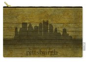 Pittsburgh Pennsylvania City Skyline Silhouette Distressed On Worn Peeling Wood Carry-all Pouch