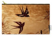Playful Swallows Original Coffee Painting Carry-all Pouch