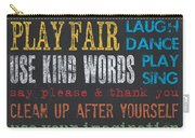 Playroom Rules Carry-all Pouch by Debbie DeWitt