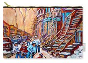 Pointe St.charles Hockey Game Near Winding Staircases Montreal Winter City Scenes Carry-all Pouch