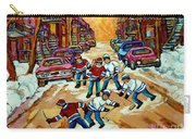 Pointe St.charles Hockey Game Winter Street Scenes Paintings Carry-all Pouch