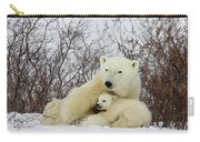 Polar Bear And 3 Month Old Cubs Carry-all Pouch