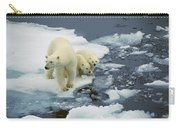 Polar Bear With Cubs On Pack Ice Carry-all Pouch