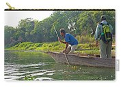 Poling A Dugout Canoe In The Rapti River In Chitwan National Park-nepal Carry-all Pouch