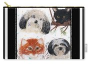 Polka Dot Family Pets With Borders - Whimsical Art Carry-all Pouch