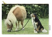 Pony With Lead Rope Held By Sitting Dog Carry-all Pouch