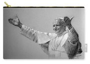 Pope John Paul II Bw Carry-all Pouch by Ylli Haruni