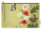 Poppies, Butterflies And Bees Ink And Colour On Silk Carry-all Pouch