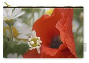 Close Up Of A Poppy With Daisies Carry-all Pouch