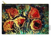 Poppies In Gold Carry-all Pouch by Zaira Dzhaubaeva