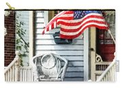 Porch With Flag And Wicker Chair Carry-all Pouch