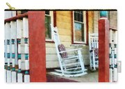 Porch With Red White And Blue Railing Carry-all Pouch by Susan Savad