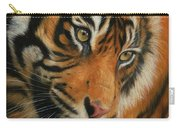 Portrait Of A Tiger Carry-all Pouch by David Stribbling