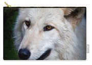 Portrait Of A White Wolf Carry-all Pouch