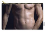 Portrait Of Man With Fit Naked Body Carry-all Pouch