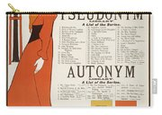 Poster For 'the Pseudonym And Autonym Libraries' Carry-all Pouch