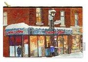Poutine Lafleur Rue Wellington Verdun Art Montreal Paintings Cold Winter Walk City Shops Cspandau   Carry-all Pouch