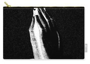 Praying Hands Black And White Glow Carry-all Pouch