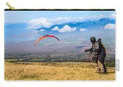 Preparing For Take Off - Paragliders Taking Off High Over Maui. Carry-all Pouch