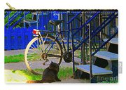 Pretty Cat In Verdun Taking The Sun Blue Picket Fence And Bike Montreal Garden Scene Carole Spandau  Carry-all Pouch