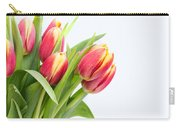 Pretty Red And Yellow Tulips On White Background Carry-all Pouch